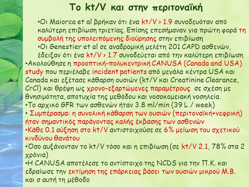 Το kt/V και στην περιτοναϊκή