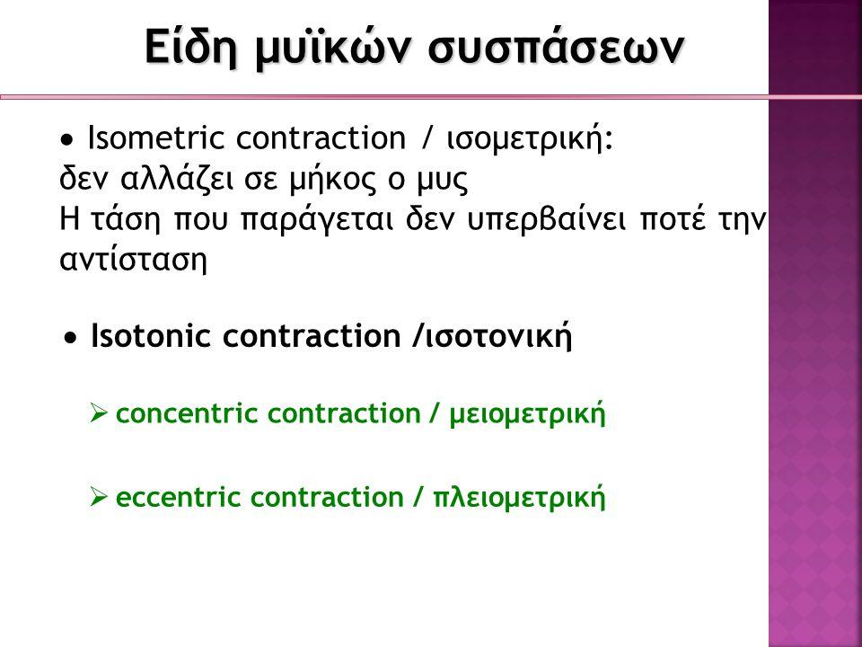 Είδη μυϊκών συσπάσεων Isometric contraction / ισομετρική: