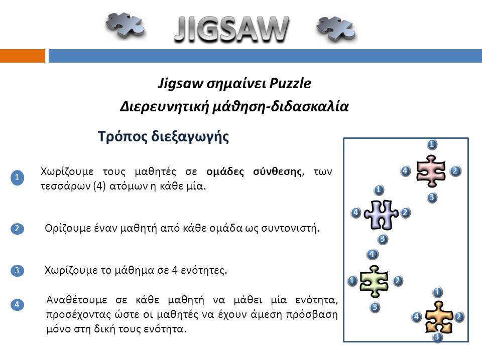 Jigsaw σημαίνει Puzzle Διερευνητική μάθηση-διδασκαλία
