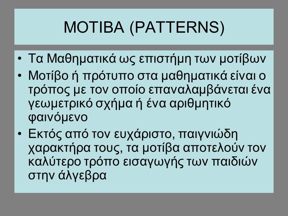 ΜΟΤΙΒΑ (PATTERNS) Τα Μαθηματικά ως επιστήμη των μοτίβων