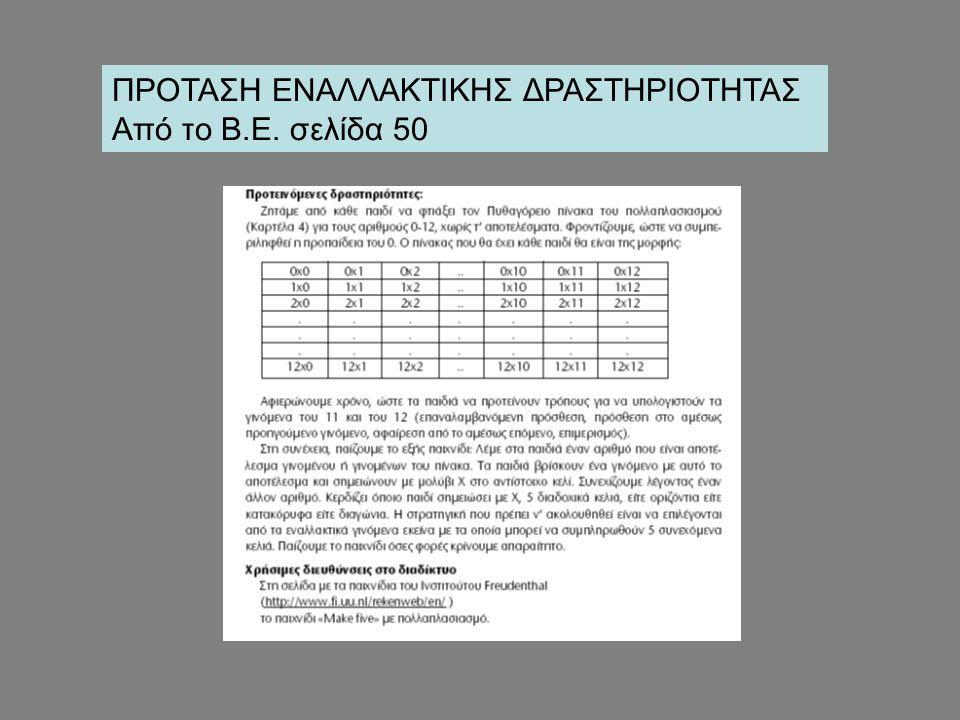 ΠΡΟΤΑΣΗ ΕΝΑΛΛΑΚΤΙΚΗΣ ΔΡΑΣΤΗΡΙΟΤΗΤΑΣ Από το Β.Ε. σελίδα 50