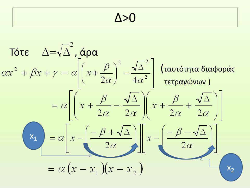 Δ>0 Τότε , άρα (ταυτότητα διαφοράς τετραγώνων ) x1 x2