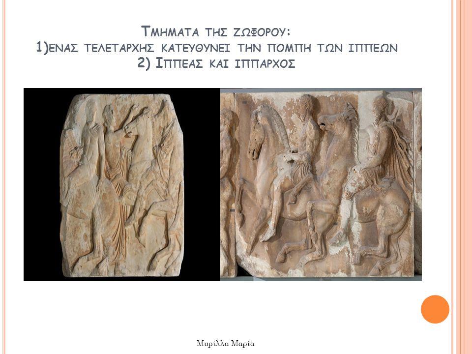 Τμηματα τησ ζωφορου: 1)ενασ τελεταρχησ κατευθυνει την πομπη των ιππεων 2) Ιππεασ και ιππαρχοσ