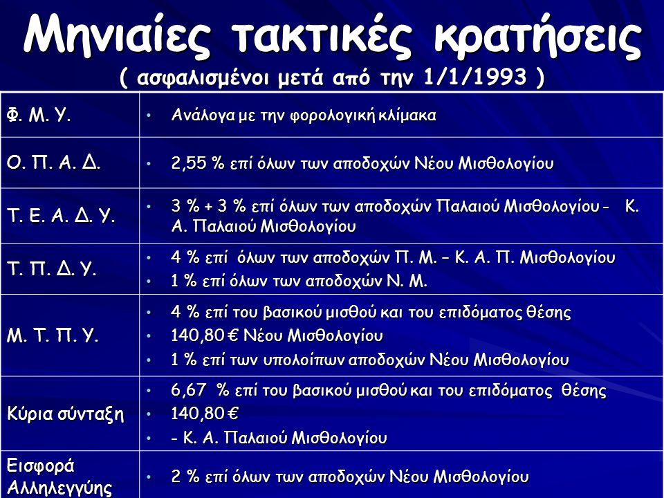 Μηνιαίες τακτικές κρατήσεις ( ασφαλισμένοι μετά από την 1/1/1993 )