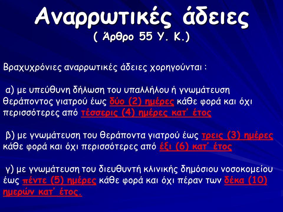 Αναρρωτικές άδειες ( Άρθρο 55 Υ. Κ.)