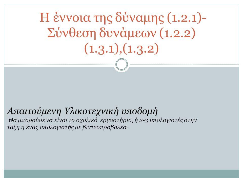 H έννοια της δύναμης (1.2.1)-Σύνθεση δυνάμεων (1.2.2) (1.3.1),(1.3.2)