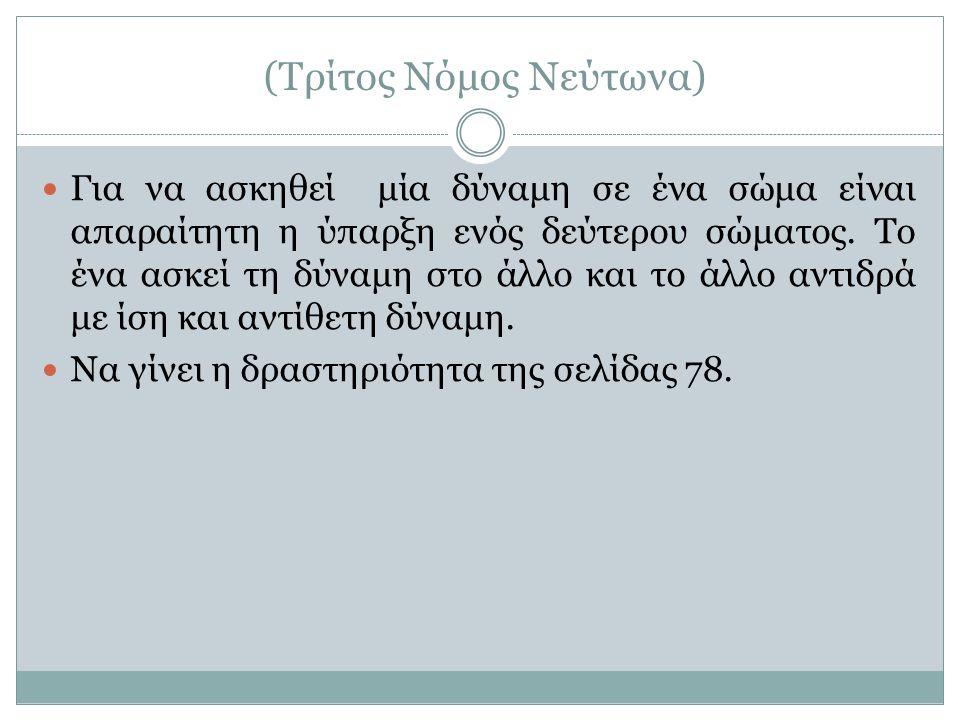 (Τρίτος Νόμος Νεύτωνα)