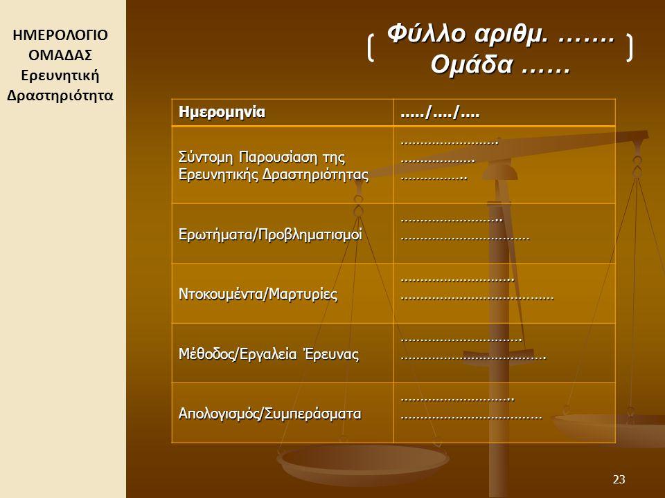 ΗΜΕΡΟΛΟΓΙΟ ΟΜΑΔΑΣ Ερευνητική Δραστηριότητα