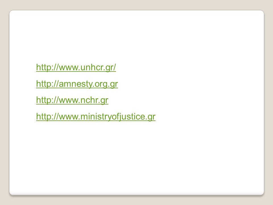 http://www.unhcr.gr/ http://amnesty.org.gr http://www.nchr.gr http://www.ministryofjustice.gr