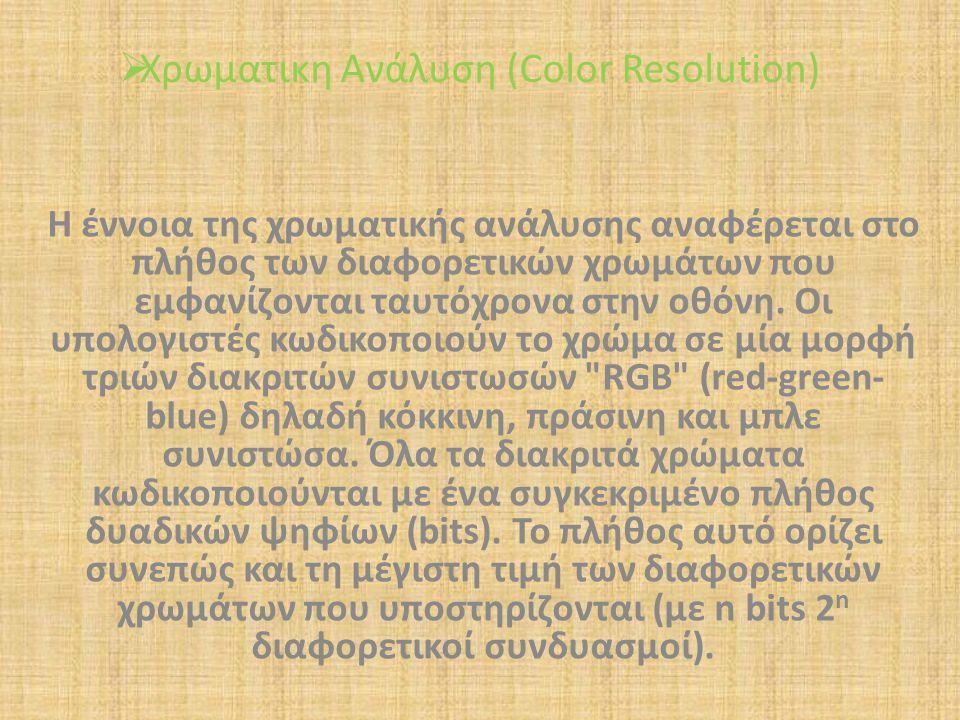 Χρωματικη Ανάλυση (Color Resolution)