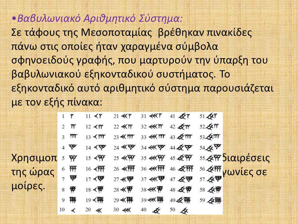 Βαβυλωνιακό Αριθμητικό Σύστημα: