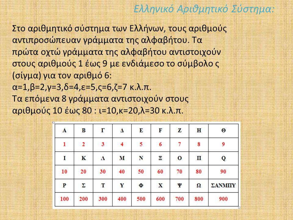 Ελληνικό Αριθμητικό Σύστημα: