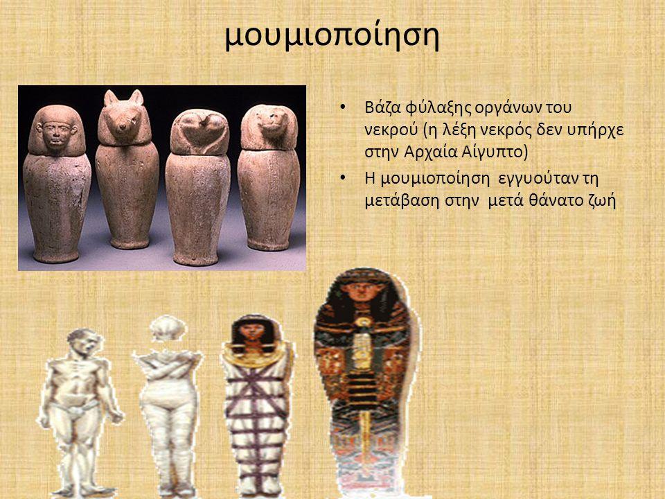 μουμιοποίηση Βάζα φύλαξης οργάνων του νεκρού (η λέξη νεκρός δεν υπήρχε στην Αρχαία Αίγυπτο)