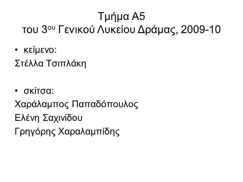 Τμήμα Α5 του 3ου Γενικού Λυκείου Δράμας, 2009-10