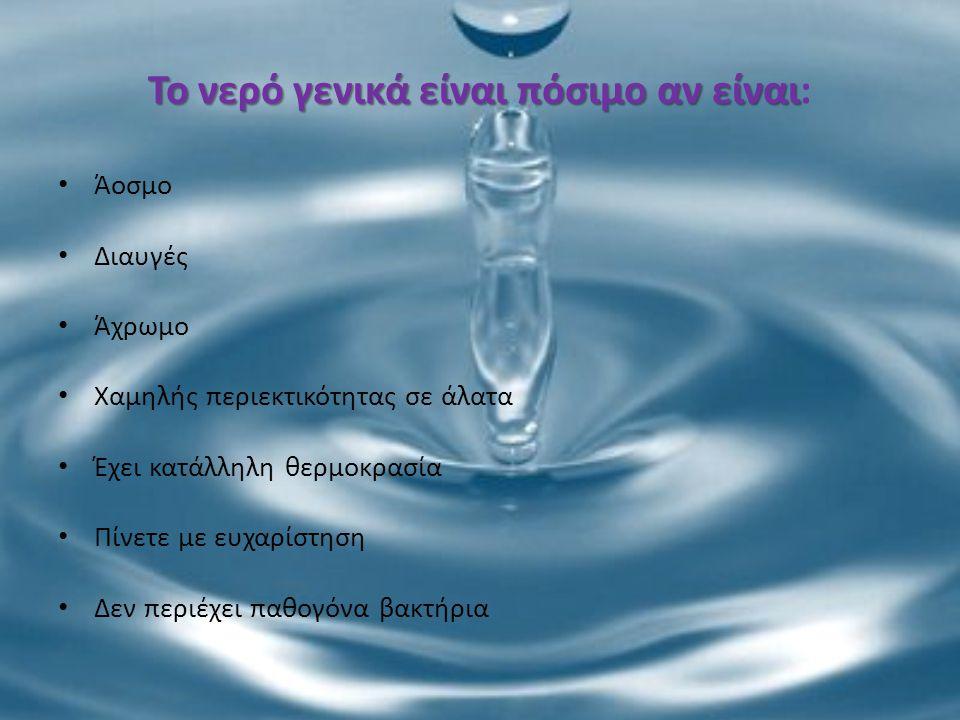 Το νερό γενικά είναι πόσιμο αν είναι: