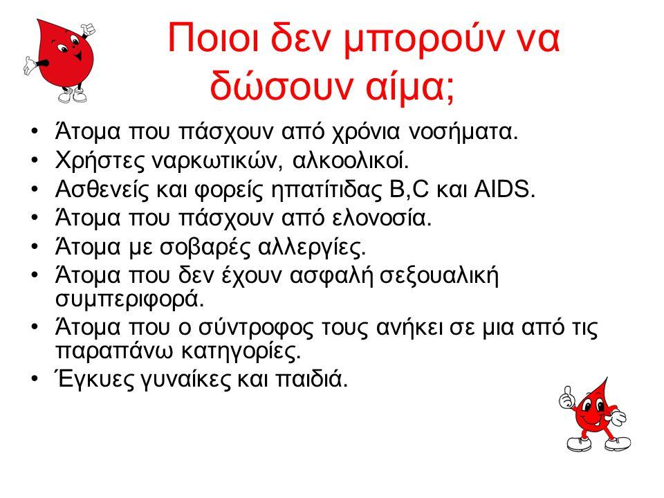 Ποιοι δεν μπορούν να δώσουν αίμα;