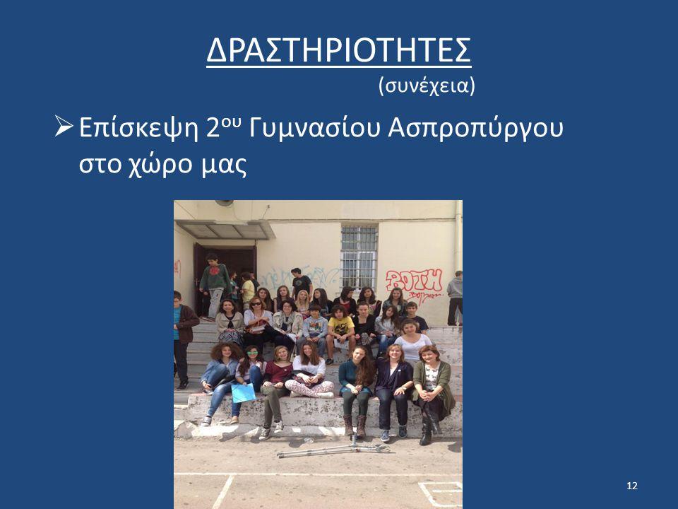 ΔΡΑΣΤΗΡΙΟΤΗΤΕΣ Επίσκεψη 2ου Γυμνασίου Ασπροπύργου στο χώρο μας