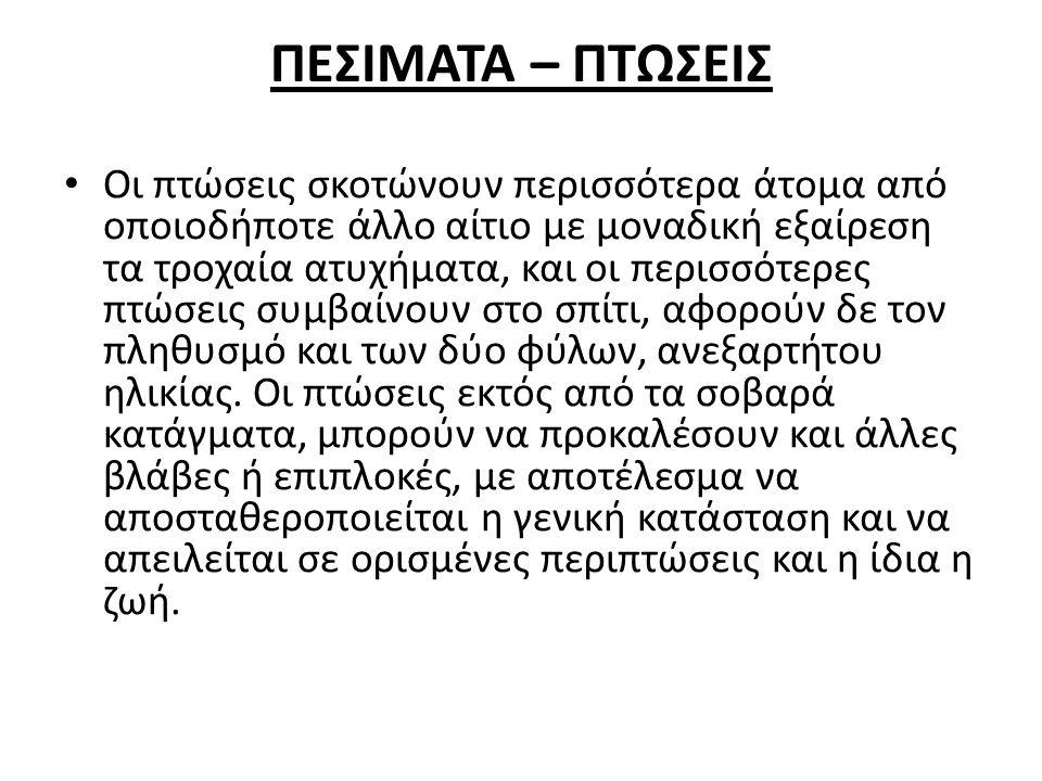 ΠΕΣΙΜΑΤΑ – ΠΤΩΣΕΙΣ