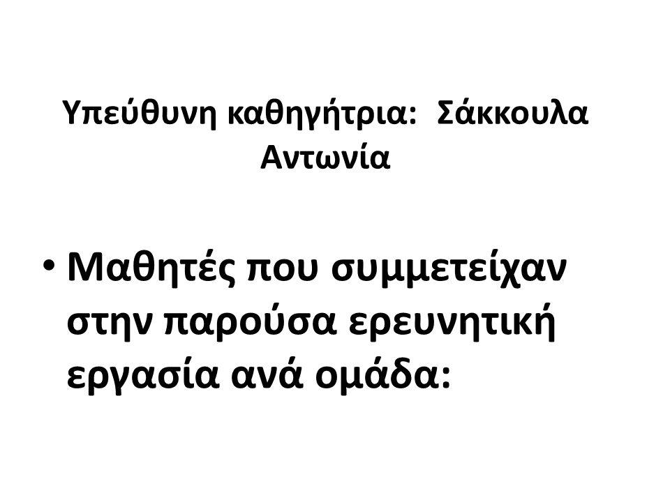 Υπεύθυνη καθηγήτρια: Σάκκουλα Αντωνία