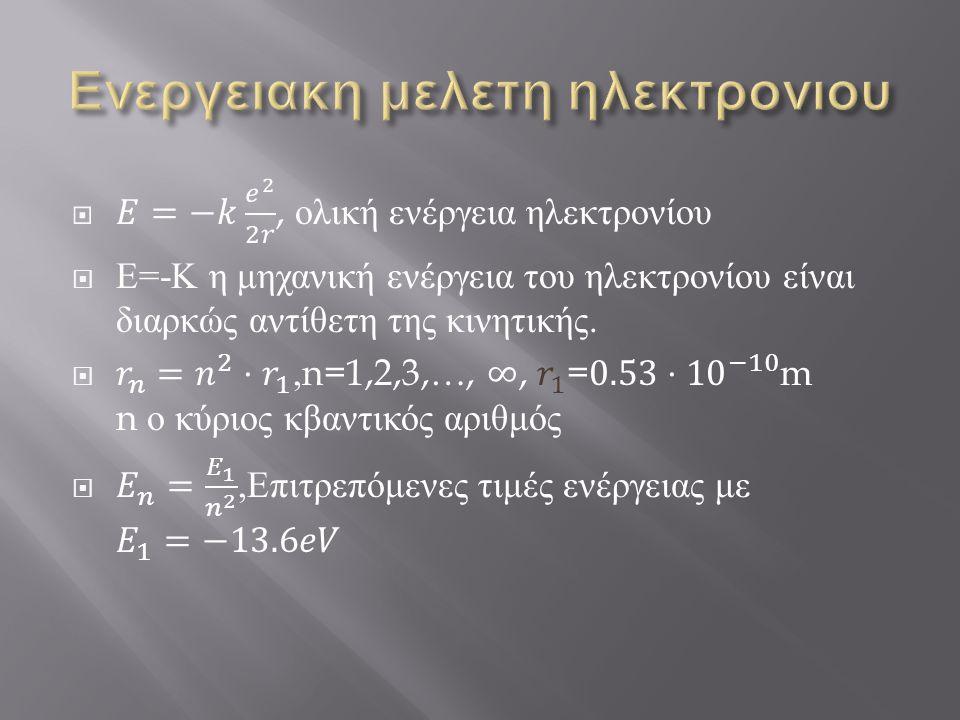 Ενεργειακη μελετη ηλεκτρονιου