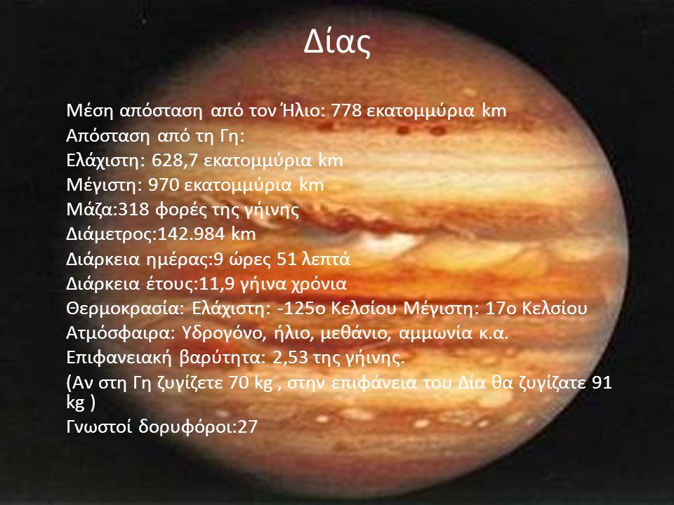 Δίας Μέση απόσταση από τον Ήλιο: 778 εκατομμύρια km