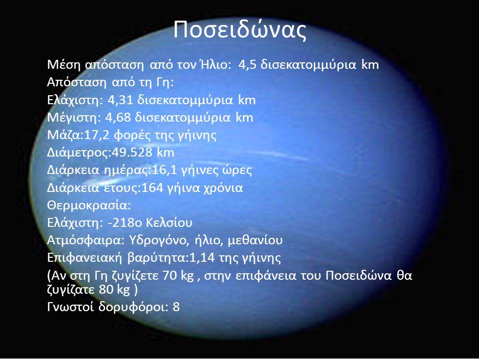 Ποσειδώνας Μέση απόσταση από τον Ήλιο: 4,5 δισεκατομμύρια km