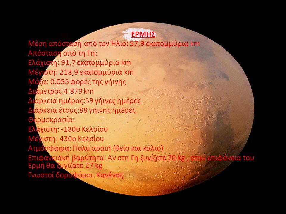 ΕΡΜΗΣ. Μέση απόσταση από τον Ήλιο: 57,9 εκατομμύρια km. Απόσταση από τη Γη: Ελάχιστη: 91,7 εκατομμύρια km.