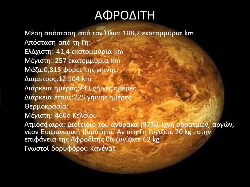 ΑΦΡΟΔΙΤΗ Μέση απόσταση από τον Ήλιο: 108,2 εκατομμύρια km