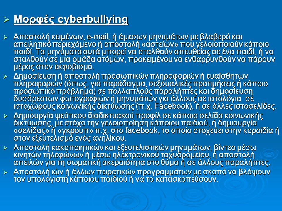 Μορφές cyberbullying