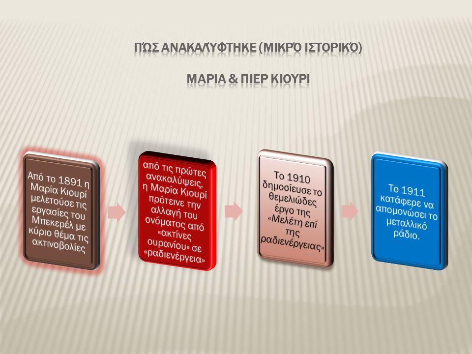 Πώς ανακαλύφτηκε (μικρό ιστορικό) ΜΑΡΙΑ & ΠΙΕΡ ΚΙΟΥΡΙ