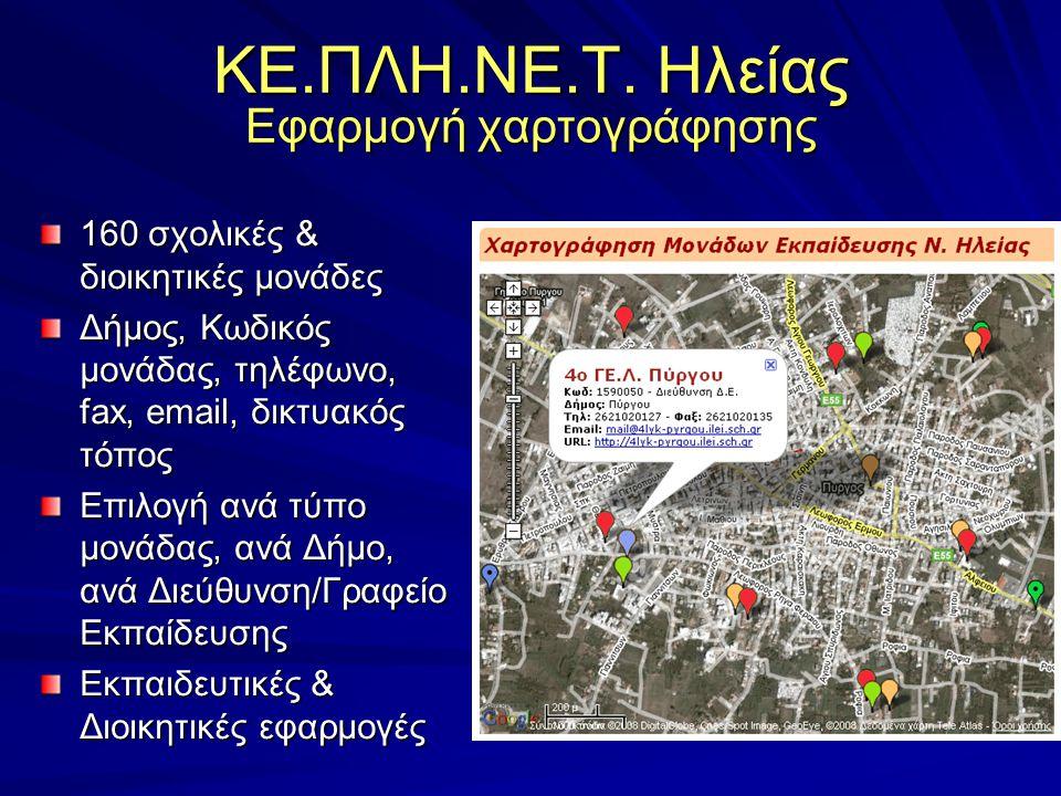 ΚΕ.ΠΛΗ.ΝΕ.Τ. Ηλείας Εφαρμογή χαρτογράφησης