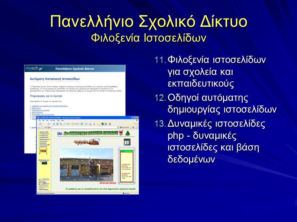 Πανελλήνιο Σχολικό Δίκτυο Φιλοξενία Ιστοσελίδων