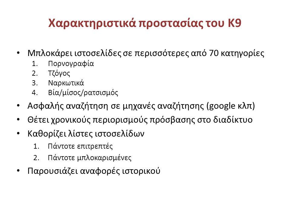 Χαρακτηριστικά προστασίας του Κ9