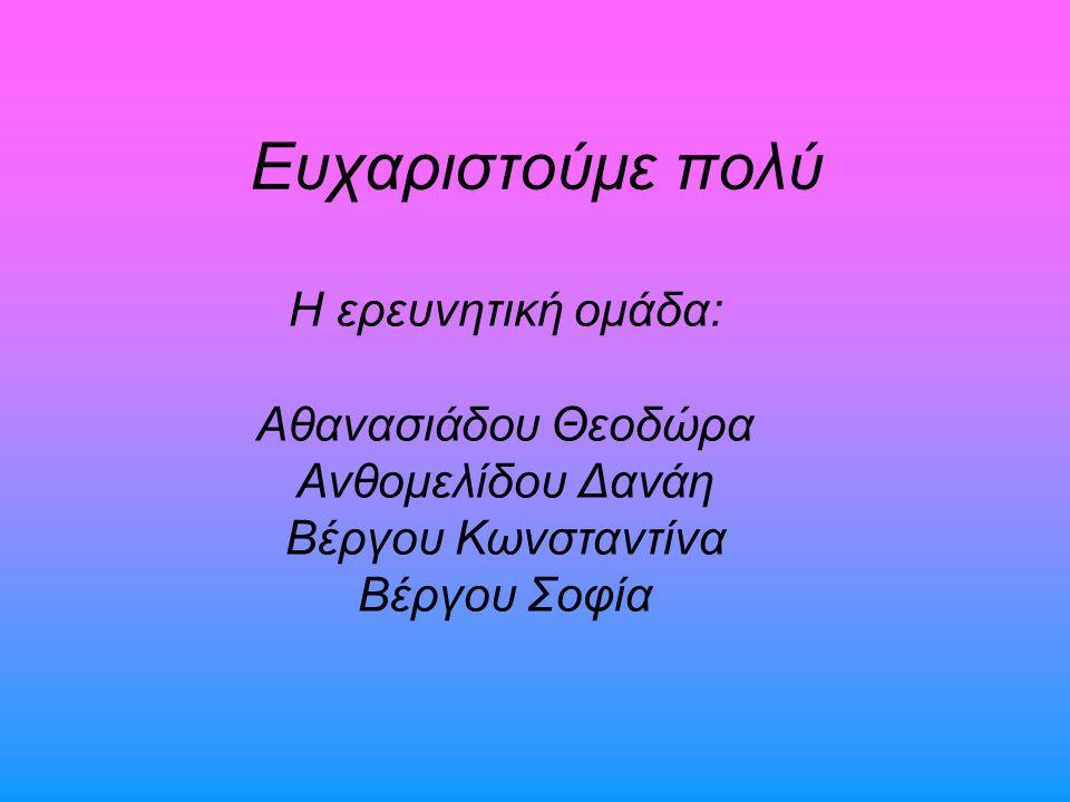 Ευχαριστούμε πολύ Η ερευνητική ομάδα: Αθανασιάδου Θεοδώρα