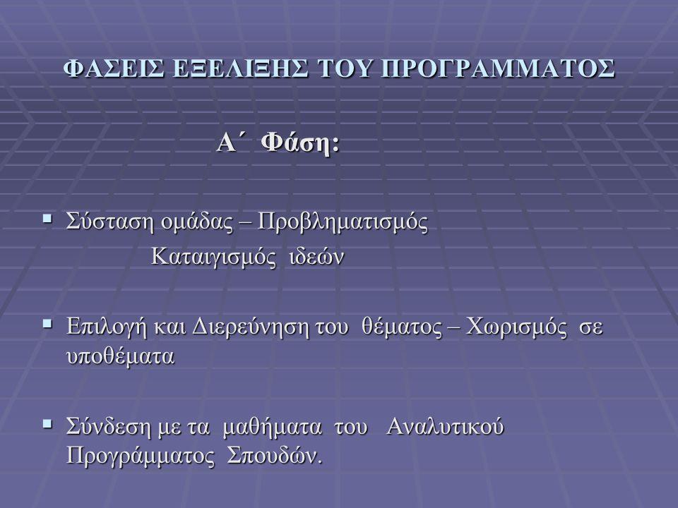 ΦΑΣΕΙΣ ΕΞΕΛΙΞΗΣ ΤΟΥ ΠΡΟΓΡΑΜΜΑΤΟΣ