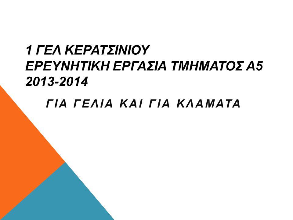1 ΓΕΛ ΚΕΡΑΤΣΙΝΙΟΥ ΕΡΕΥΝΗΤΙΚΗ ΕΡΓΑΣΙΑ ΤΜΗΜΑΤΟΣ Α5 2013-2014