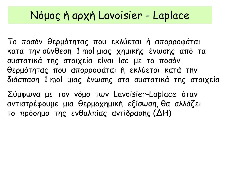 Νόμος ή αρχή Lavoisier - Laplace