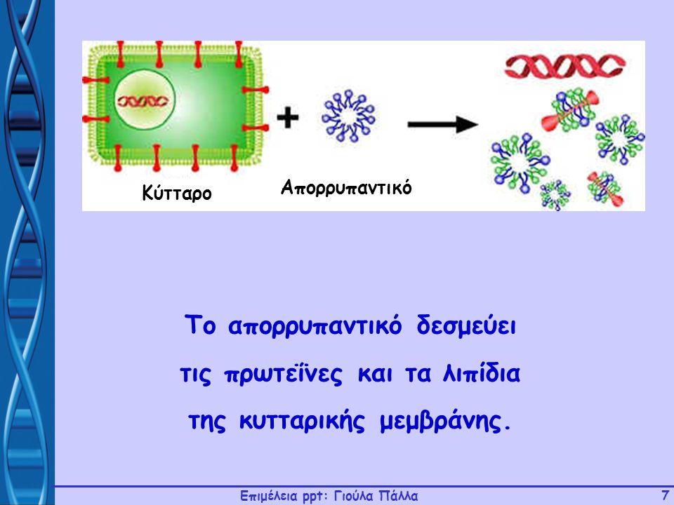 Το απορρυπαντικό δεσμεύει τις πρωτεΐνες και τα λιπίδια