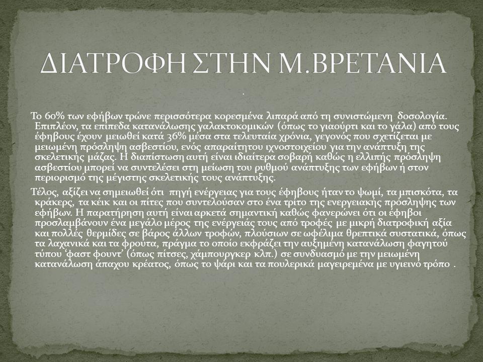 ΔΙΑΤΡΟΦΗ ΣΤΗΝ Μ.ΒΡΕΤΑΝΙΑ