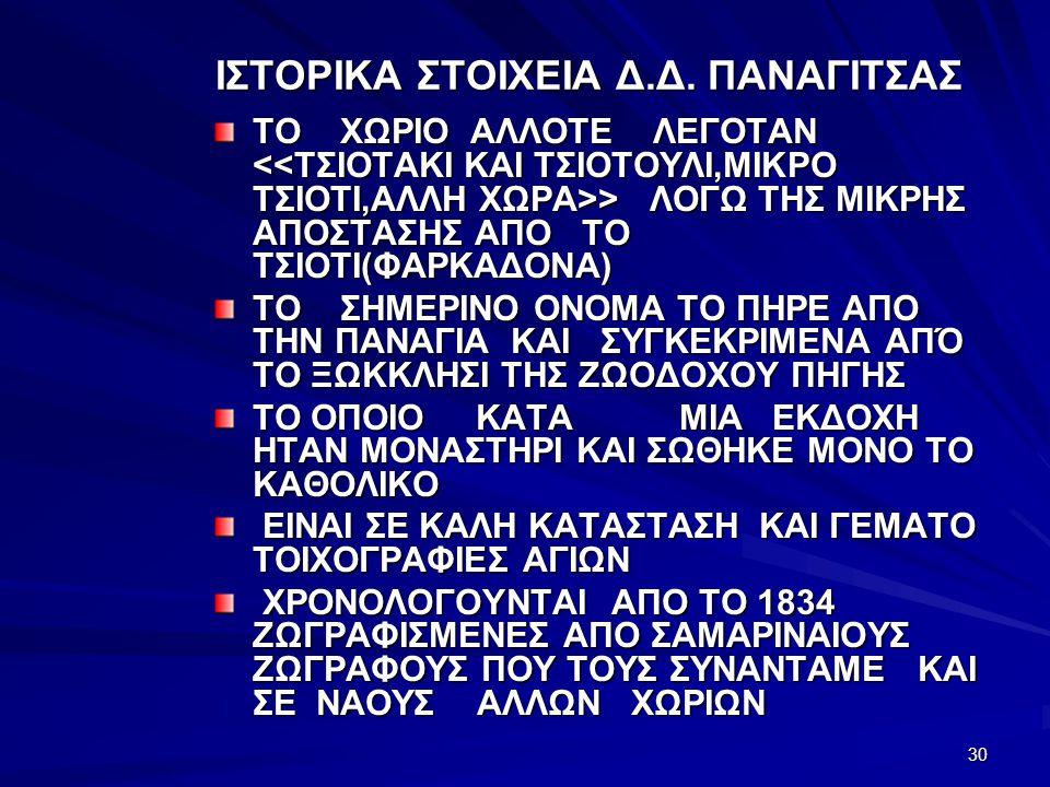 ΙΣΤΟΡΙΚΑ ΣΤΟΙΧΕΙΑ Δ.Δ. ΠΑΝΑΓΙΤΣΑΣ