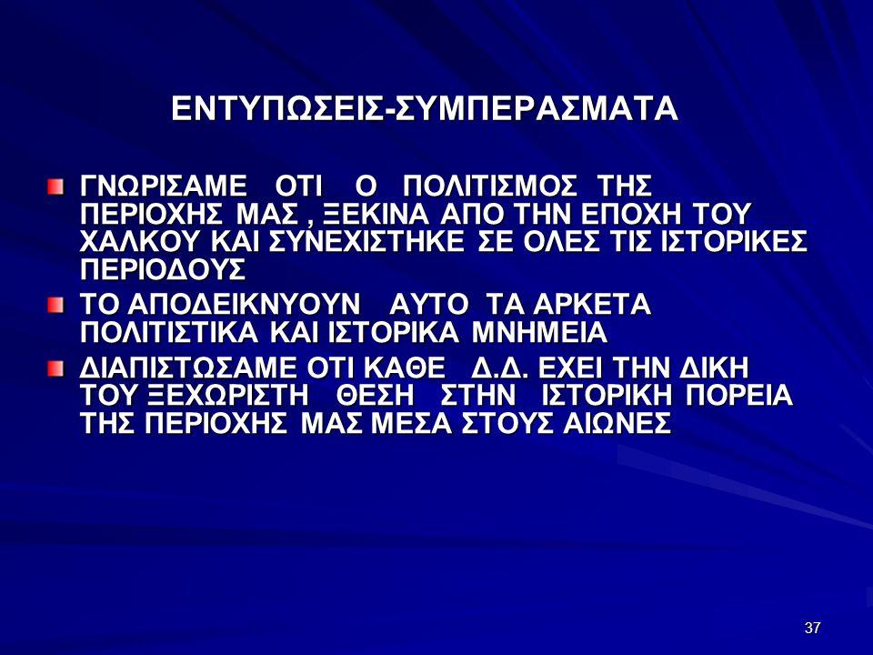 ΕΝΤΥΠΩΣΕΙΣ-ΣΥΜΠΕΡΑΣΜΑΤΑ