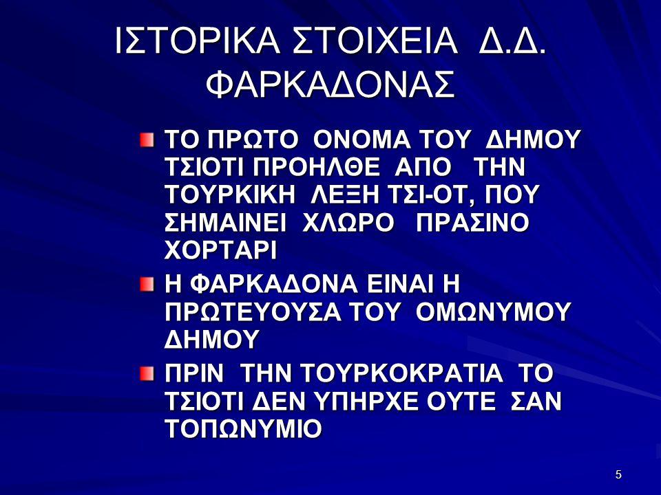 ΙΣΤΟΡΙΚΑ ΣΤΟΙΧΕΙΑ Δ.Δ. ΦΑΡΚΑΔΟΝΑΣ