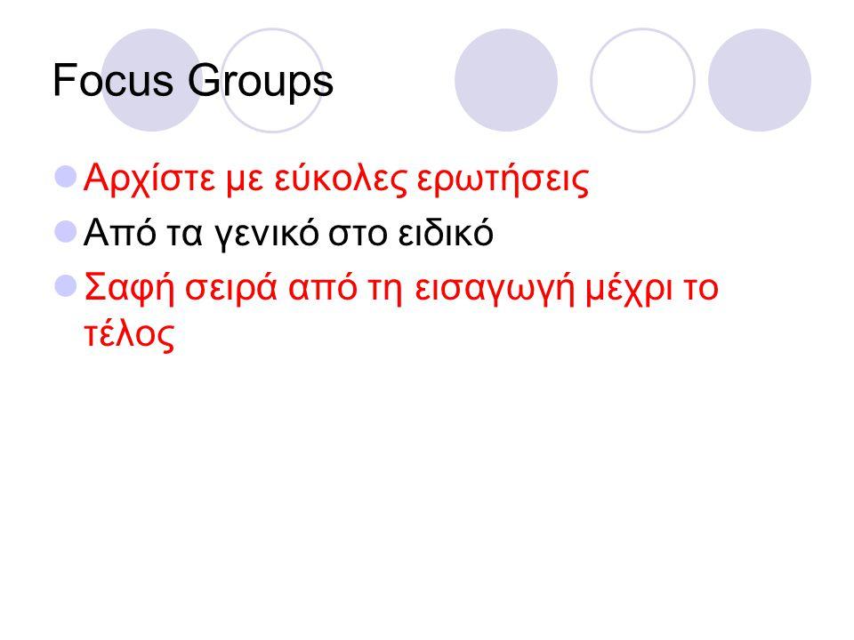 Focus Groups Αρχίστε με εύκολες ερωτήσεις Από τα γενικό στο ειδικό