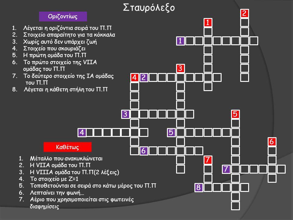 Σταυρόλεξο 2 1 1 3 4 2 3 5 4 5 6 6 7 7 8 Οριζοντίως