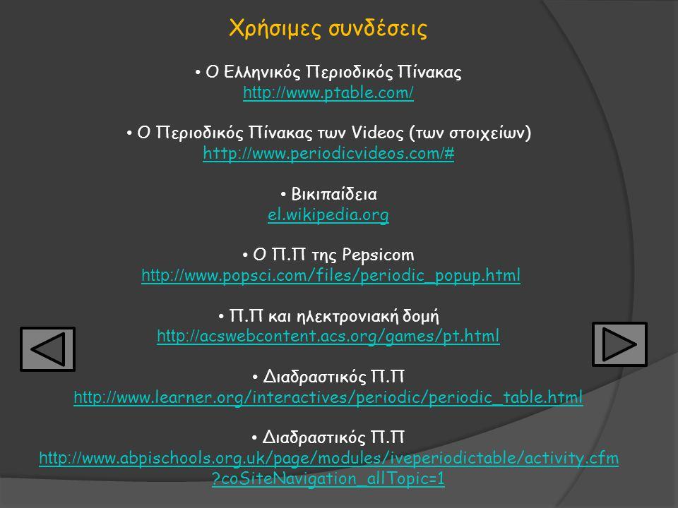 Χρήσιμες συνδέσεις Ο Ελληνικός Περιοδικός Πίνακας