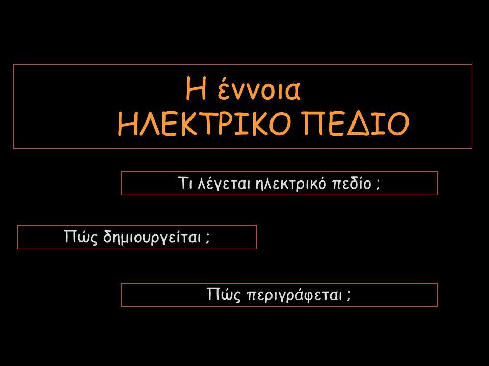 Η έννοια ΗΛΕΚΤΡΙΚΟ ΠΕΔΙΟ