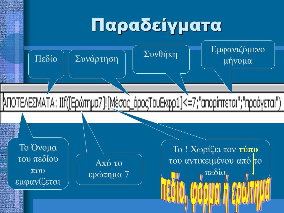 Παραδείγματα Εμφανιζόμενο μήνυμα Συνθήκη Πεδίο Συνάρτηση
