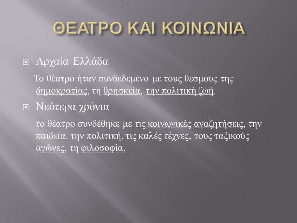 ΘΕΑΤΡΟ ΚΑΙ ΚΟΙΝΩΝΙΑ Αρχαία Ελλάδα
