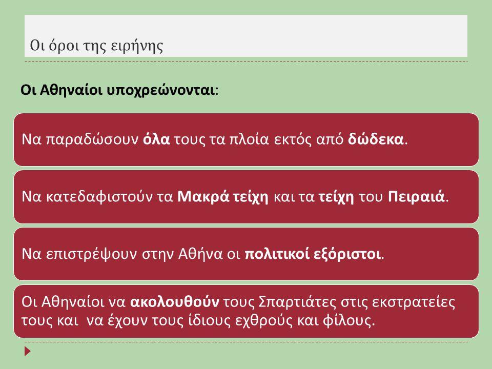 Οι Αθηναίοι υποχρεώνονται: