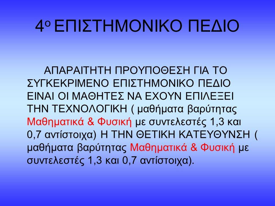 4ο ΕΠΙΣΤΗΜΟΝΙΚΟ ΠΕΔΙΟ